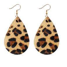 Dangle Earring, leopardearring, Earring, leather