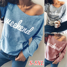Fashion, Women's Casual Tops, Spring/Autumn, letter print