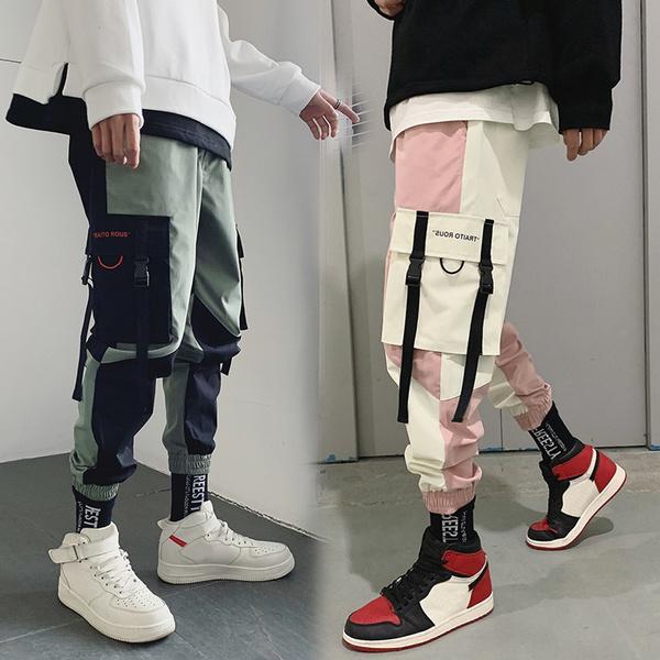 Summer New Men S Tooling Nine Pants Fashion Color Matching Men S Sports Beam Casual Pants Casual Pants Multi Pocket Overalls Loose Beam Feet Pantalon Homme Pantalones De Hombre Wish