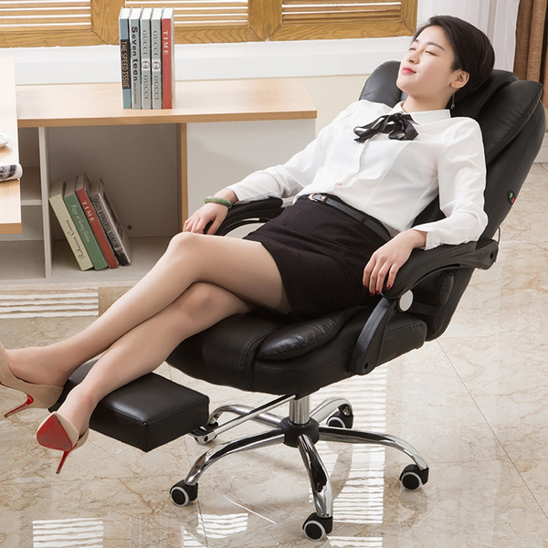 Soft Leather Office Chair Nap Chair Leather Desk Gaming Chair Ergonomic Boss Chair With Adjust Seat Height Wish