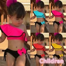 girls swimwear, two piece bathing suit, polyesterswimwear, Bow