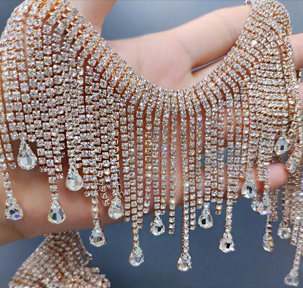 Neckline, Chain, gold, rhinestonetasselschain