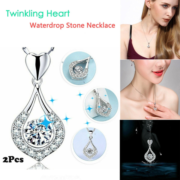 DDLmax Luxury Twinkling Heart Waterdrop Stone Necklace Women Silver Pendant Necklace