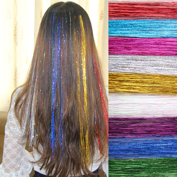 Laser, Colorful, Hair Extensions, Glitter