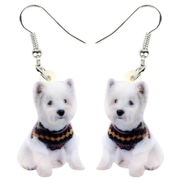 earringsforkid, whiteterrierdogjewelry, whiteterrierdogearring, Jewelry