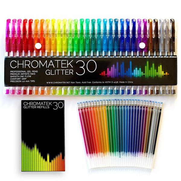 Glitter Pens 60 Set By Chromatek 200/% The Ink: 30 Gel Pens Best Colors 30 Ref