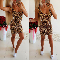 Mini, Summer, women dresses, leopard print