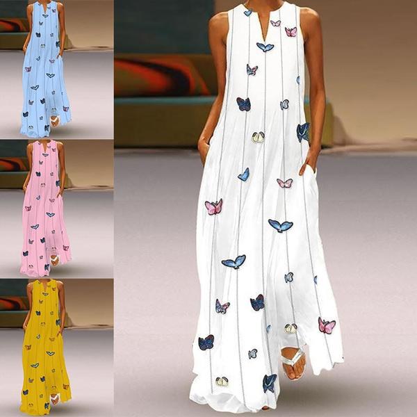 butterfly, Plus Size, long dress, Beach