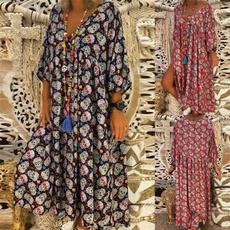 Deep V-Neck, Summer, Fashion, sleeve dress