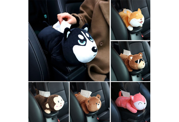 Cartoon Plush Armrest Car Tissue Paper Box Cute Auto Seat Storage Container Shan
