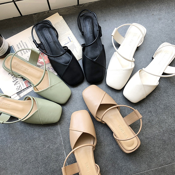 Square Toe Shoes Women Slip