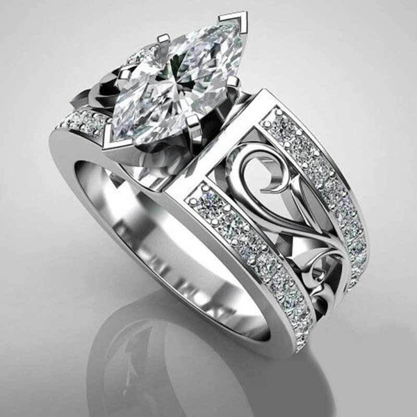 Couple Rings, silver plated, Engagement, wedding ring
