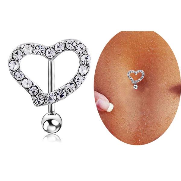 Heart, womensfashionampaccessorie, navel rings, cute