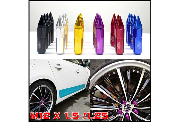 New 20 60mm M12X1.5 Cap Spiked Extended Tuner Aluminum Wheels Rims Lug Nuts Gold