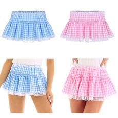 Skirts, pleatedminiskirt, plaid, Lace