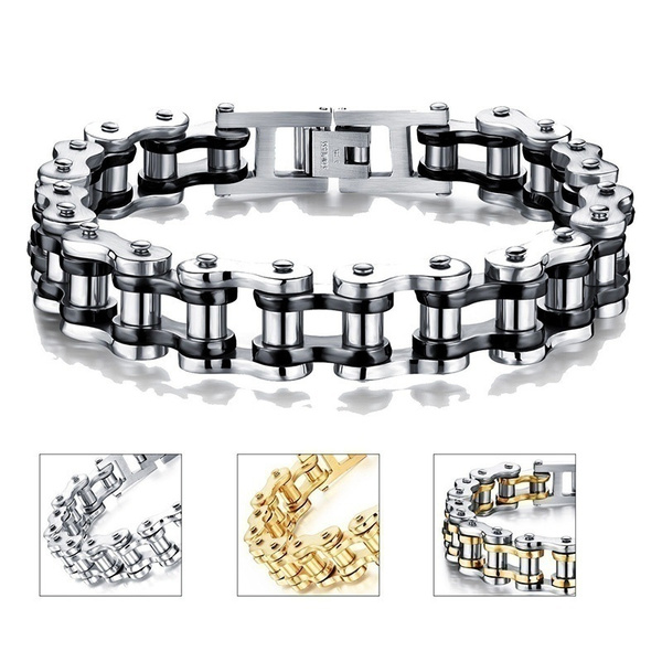 black bracelet, Steel, bicyclechain, Fashion