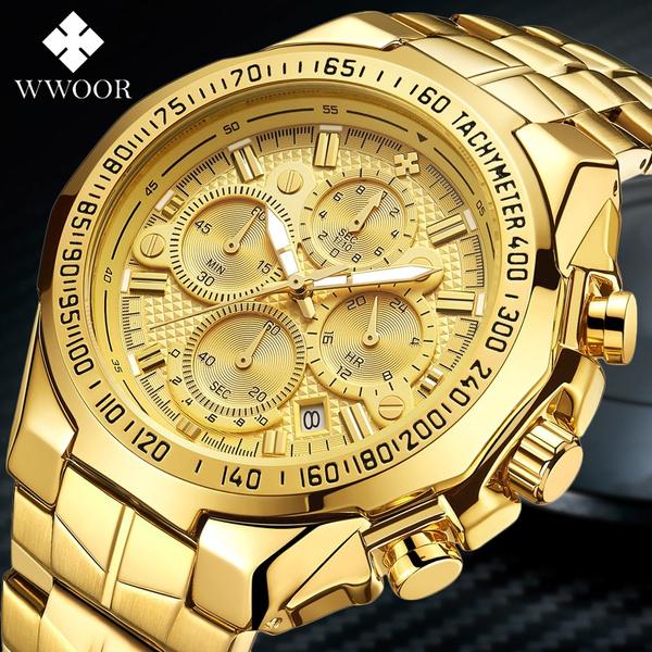 Chronograph, golden, Fashion, business watch