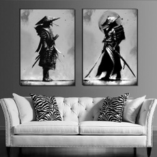 japanesesamuraipainting, samuraiwallart, blackwhitecanvaspainting, Portrait