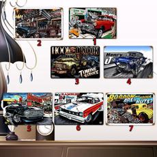 classiccar, Muscle, art, garagetinsign