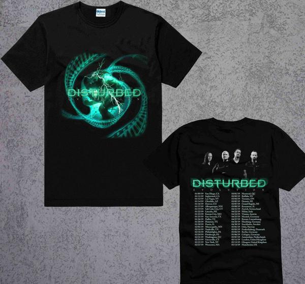 evolutiontourdisturbed2019, tshirt men, teeshirtfemme, Rock