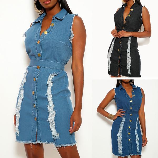 denim dress, vintagedenim, ripped, holewomendres