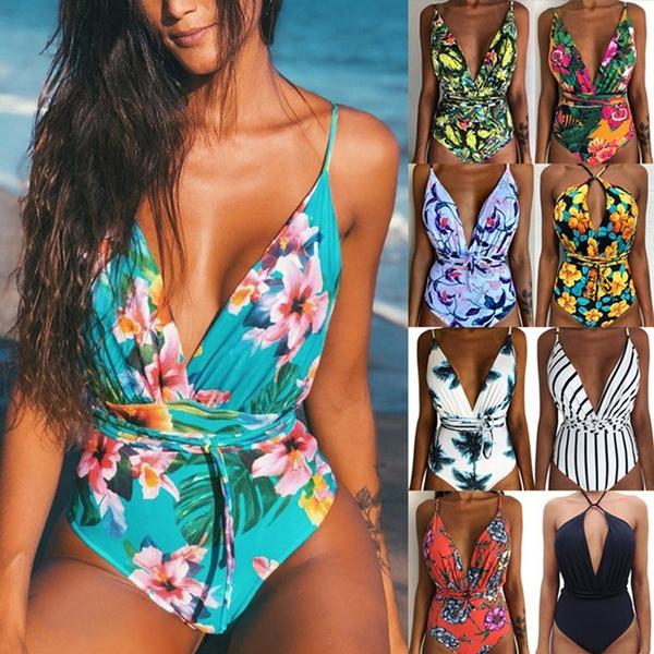 bikinsuit, Fashion, Floral print, backlessswimsuit