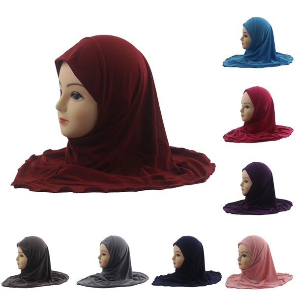 Girls Kids Muslim Hijab Islamic Arab Scarf Shawls No Decoration Soft And  Stretch For 7 To 12 Years Old Girls | Wish