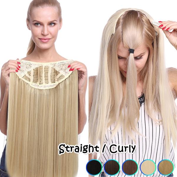 Fiber, clip in hair extensions, Straight Hair, Half Wig