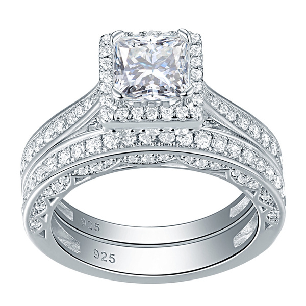 engagementringset, Cubic Zirconia, 925 sterling silver, Jewelry