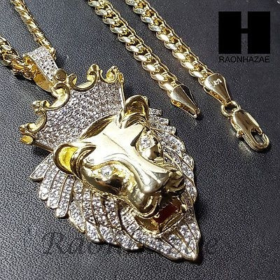 yellow gold, King, Head, mens necklaces