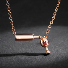 Bottle, redwinenecklace, women necklace, Glass