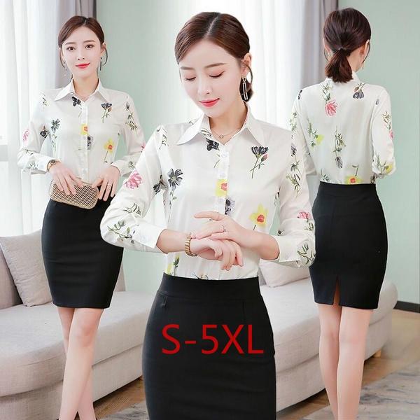 Korea fashion, Plus Size, Office, Long Sleeve