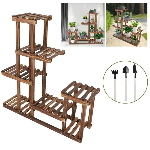 flowerrack, plantstand, woodenflowerstand, Garden