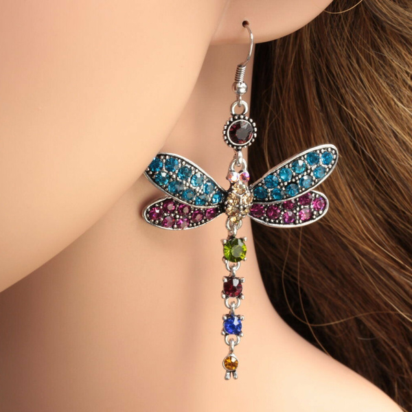 gorgeousearring, dragon fly, Crystal, Dangle Earring
