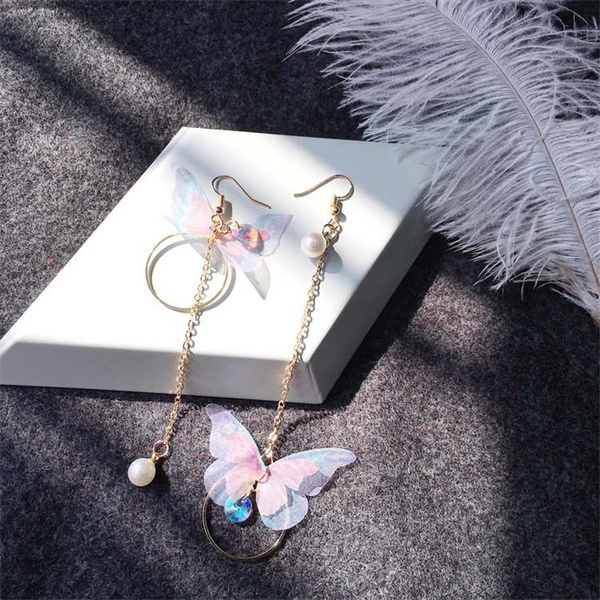 butterfly, buttleflyearring, Pearl Earrings, 14k Gold