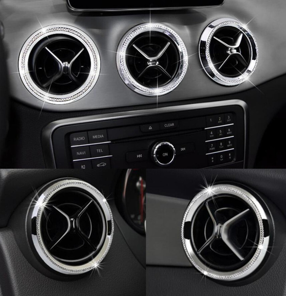 NIUHURU Car Interior Bling Accessories fit for Mercedes Benz C Class GLC Central Clock Ring 1pc, Gold