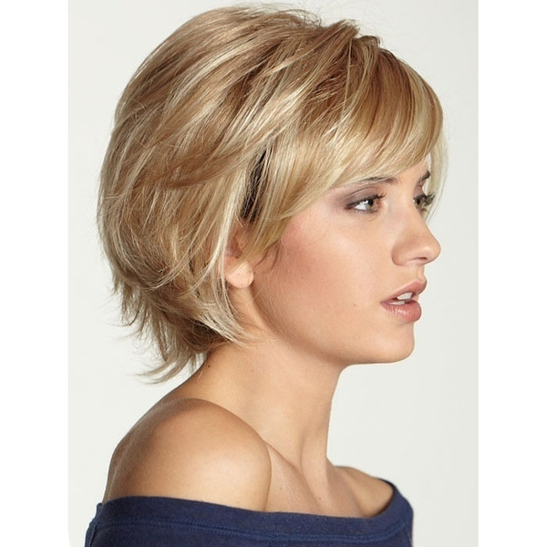 Women Wavy Bob Haircut Layered Haircut With Bangs Side Part Ombre Blonde Brown Short Capless Wig Wish