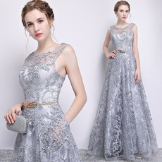 sleeveless, gowns, Lace, Elegant