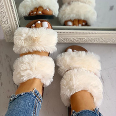 Summer, Sandals, fur, Womens Shoes