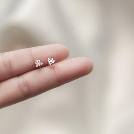 Triangles, Gemstone Earrings, Stud Earring, czearring