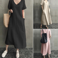 Summer, Plus Size, sleeve dress, Necks
