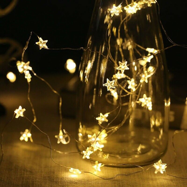Led Star Lights Battery Operated Fairy String Indoor Party Bedroom Lamp Decor Wish
