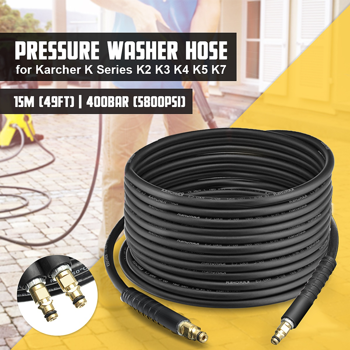 3w Pressure washer karcher hd hds replacement hose 20m new non oem