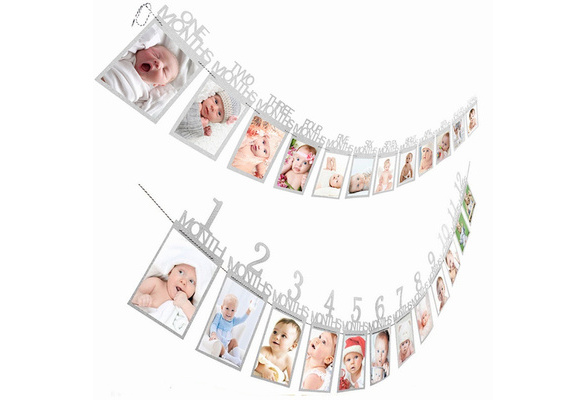 12 Months Photo Frame Banner First Happy Birthday Decorations 1st Baby Boy Girl My 1 One Year Party Supplies Wish