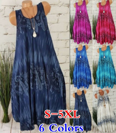 Summer, Print Dresses, Mini, Round Collar