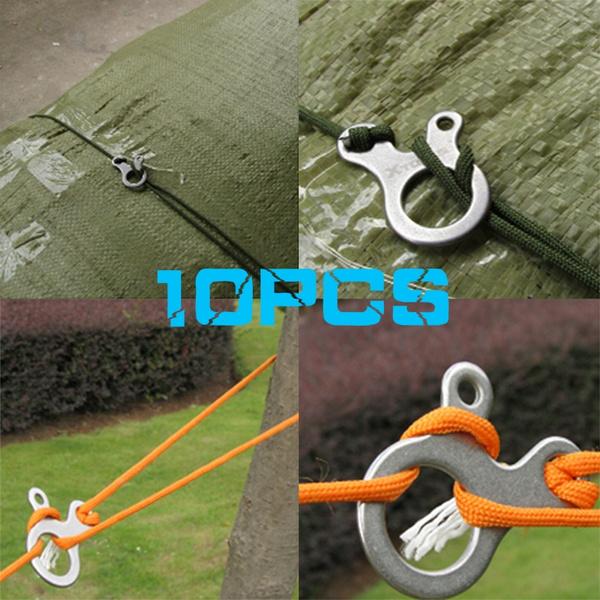 10pcs 3 Holes Camping Awning Cord Rope Tensioner Guy Line Runners Hook Hang.ju
