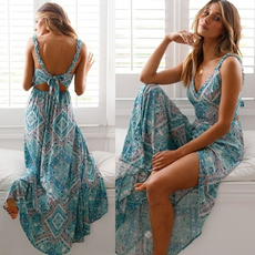 Summer, printeddre, Dress, backless dress