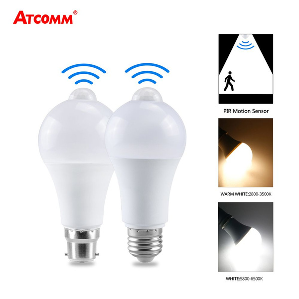 Led Pir Sensor Bulb E27 B22 12w 15w 18w 20w Dusk To Dawn Light Bulb Day Night Light Motion Sensor Lamp For Home Lighting Ac 220v 110v Wish