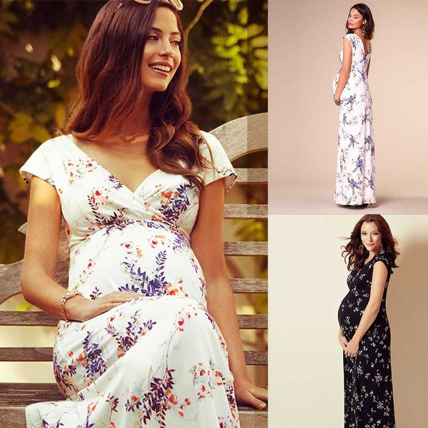 Women Dress Maternity Photography Accessories Floral Short Sleeved Dresses For Pregnant Women Maternity Long Dress Clothing Woman 2019 Wish