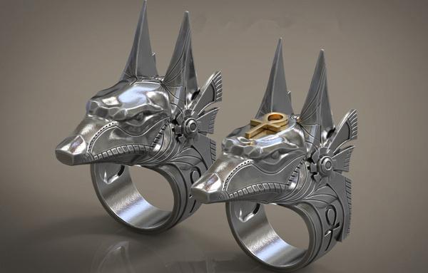 anubisring, Goth, Stainless Steel, egyptianjewelry